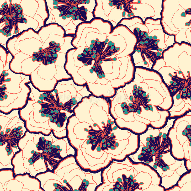 Bello modello senza cuciture floreale d'annata Fiori del blu del fiore del giardino royalty illustrazione gratis