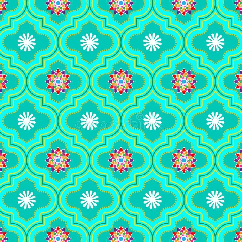 Bello modello senza cuciture floreale decorato verde molle del Marocco illustrazione vettoriale