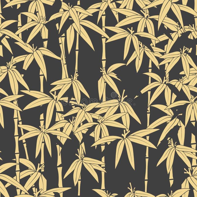 Bello modello senza cuciture giapponese Foresta di bambù asiatica, fondo scuro Bambù giapponese per progettazione di massima Bell illustrazione di stock