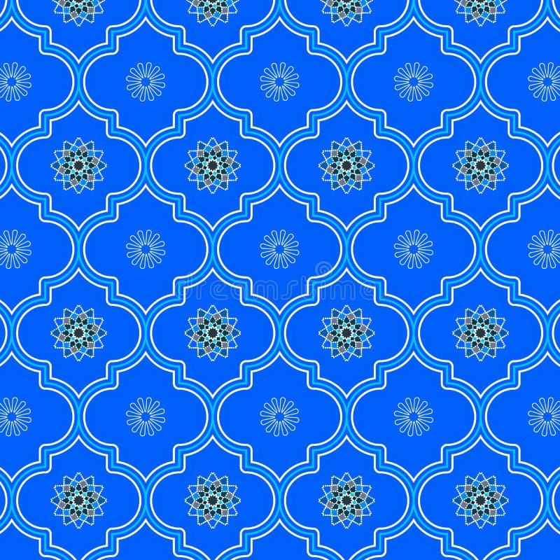 Bello modello senza cuciture marocchino decorato monocromatico blu illustrazione vettoriale