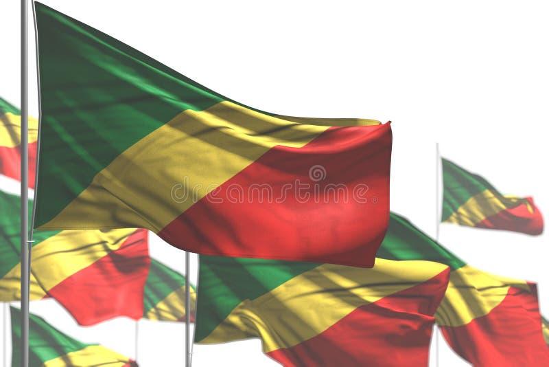 Bello molte bandiere del Congo sono onda isolata sulla foto bianco- con il fuoco selettivo - tutta l'illustrazione della bandiera royalty illustrazione gratis