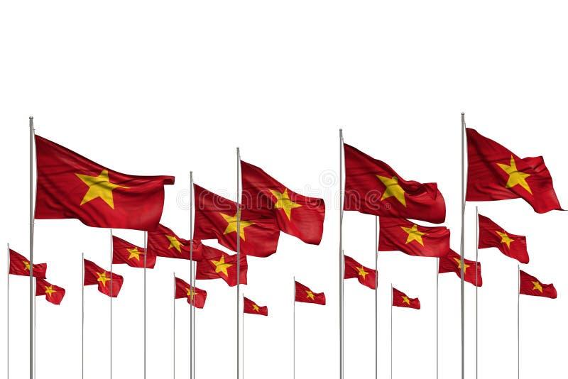 Bello molte bandiere del Vietnam in una fila isolate su bianco con il posto vuoto per il vostro contenuto - qualsiasi illustrazio illustrazione di stock