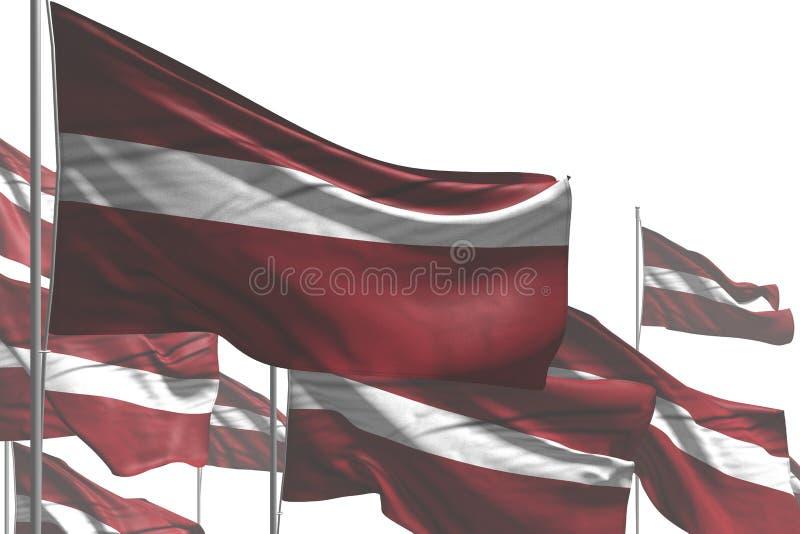 Bello molte bandiere della Lettonia sono onda isolata su bianco- tutta l'illustrazione della bandiera 3d della celebrazione illustrazione di stock