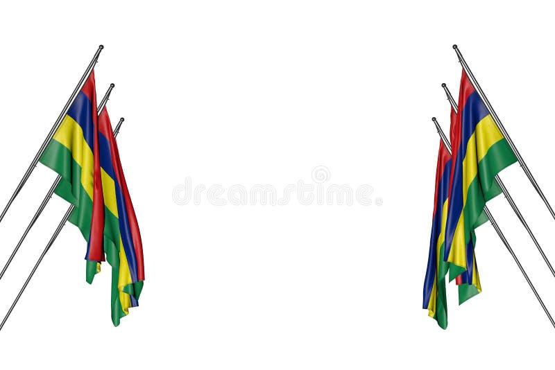 Bello molte bandiere delle Mauritius che appendono sopra nei pali d'angolo dai lati destri e sinistri isolati su bianco- qualsias illustrazione di stock