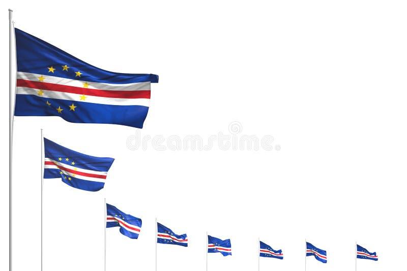 Bello molte bandiere di Cabo Verde hanno disposto la diagonale isolata su bianco con spazio per il contenuto - tutta l'illustrazi illustrazione vettoriale