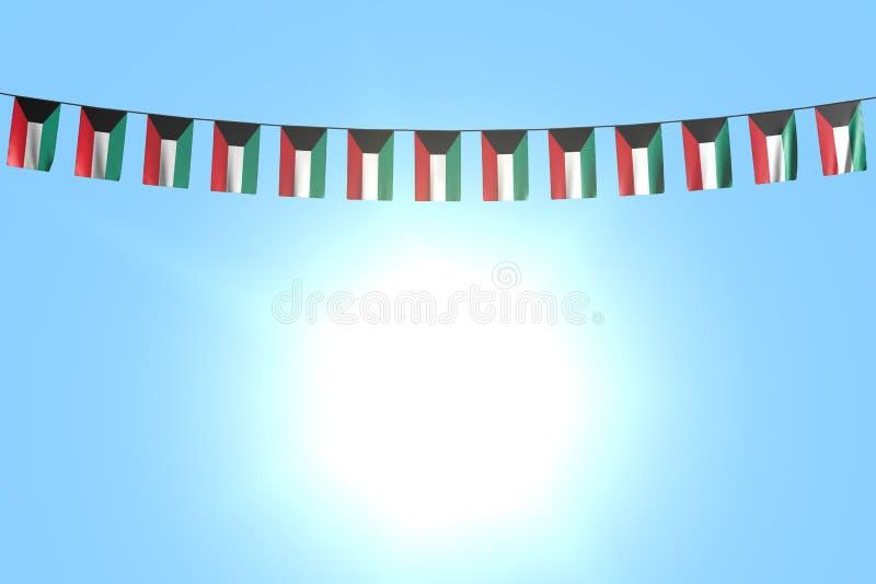 Bello molte bandiere o insegne del Kuwait che appendono sulla corda sul fondo del cielo blu - qualsiasi illustrazione della bandi illustrazione vettoriale