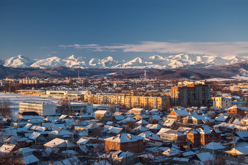Bello Mountain View caucasico (maggior gamma di Caucaso) Caucaso del nord, Russia fotografia stock libera da diritti