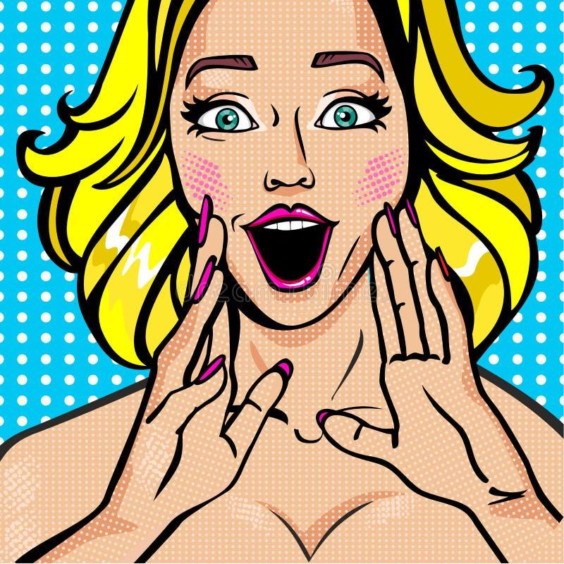 Bello nudo sexy promozionale della ragazza di Pop art nudo royalty illustrazione gratis