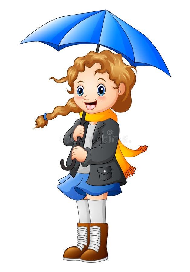 Bello ombrello della tenuta della ragazza di autunno royalty illustrazione gratis