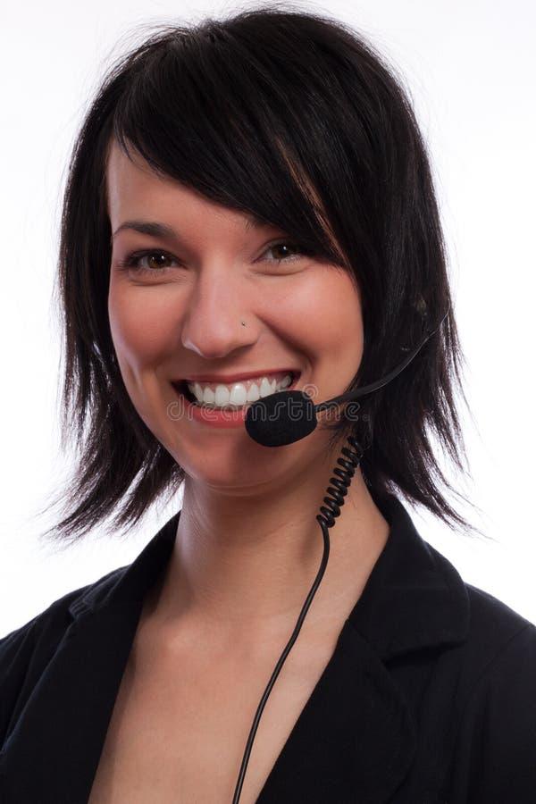 Bello operatore di servizio di assistenza al cliente delle donne fotografie stock