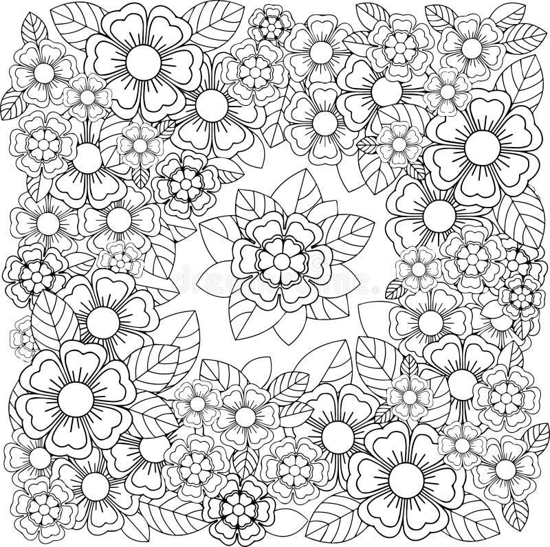 Bello ornamento in bianco e nero floreale illustrazione vettoriale