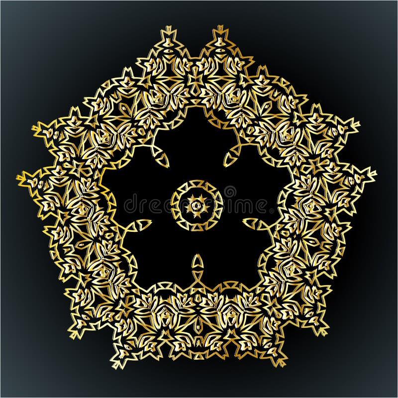 Bello ornamento del pizzo per le carte o l'invito, elementi rotondi della mandala, motivo indiano arabo etnico tribale Geomet flo royalty illustrazione gratis