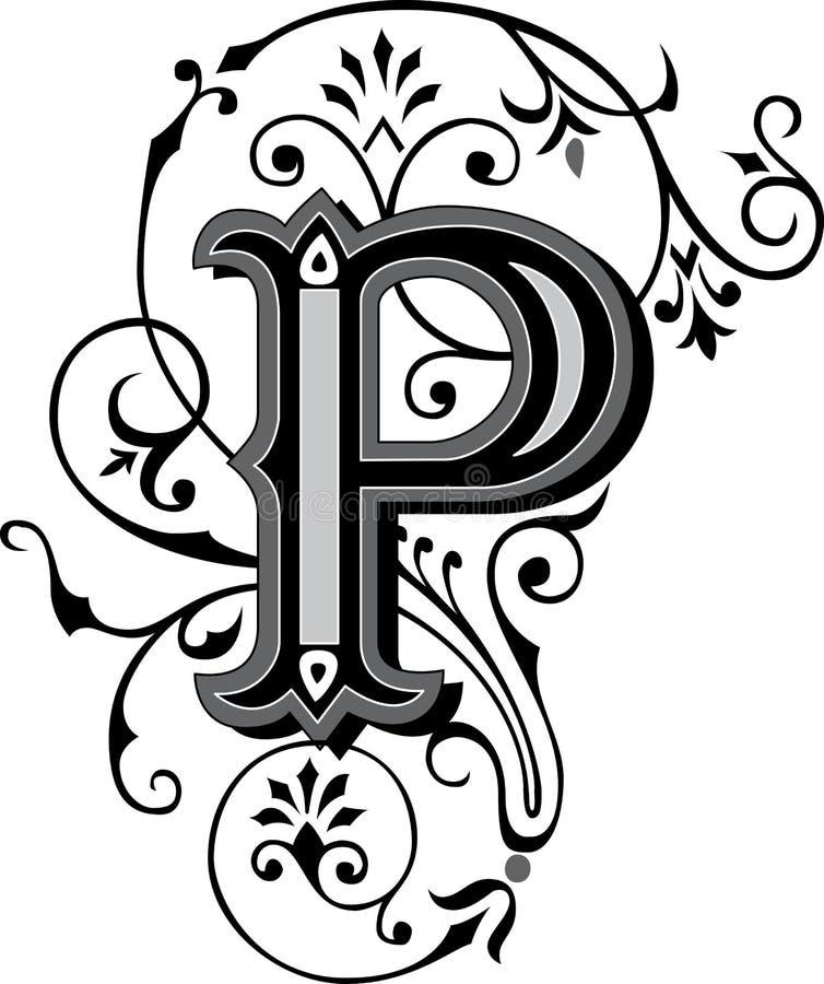 Bello ornamento, lettera P royalty illustrazione gratis