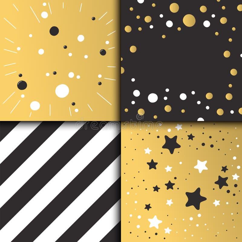 Bello oro di progettazione di carta dell'invito di compleanno e colori neri royalty illustrazione gratis