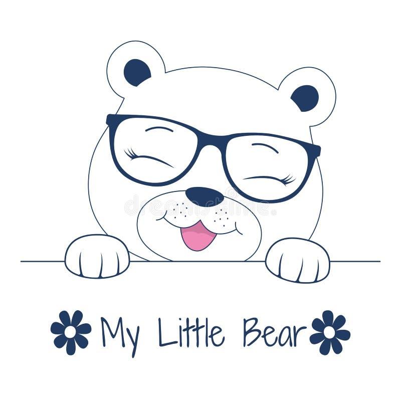 Bello orsacchiotto adorabile del fronte in vetri Sveglio il mio piccolo orso illustrazione di stock