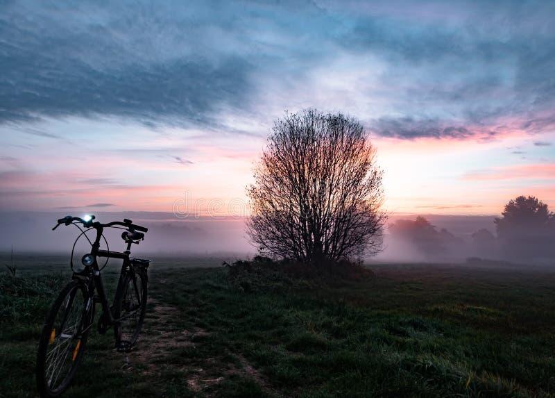 Bello paesaggio alla luce nebbiosa di alba con la bicicletta fotografia stock