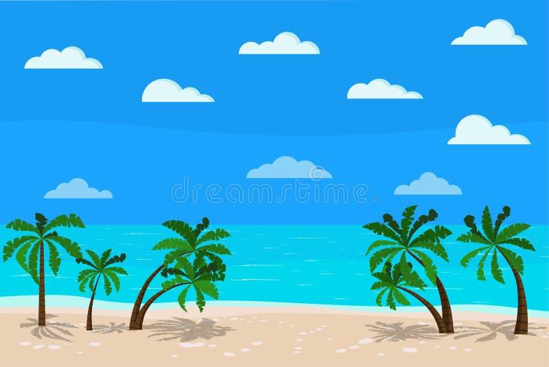 Bello paesaggio blu panoramico del mare: oceano calmo, palme, nuvole, linea costiera della sabbia, illustrazione di vettore di tr illustrazione vettoriale