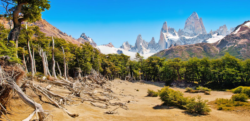 Bello paesaggio con il Mt Fitz Roy nel parco nazionale di Los Glaciares, Patagonia, Argentina, Sudamerica fotografie stock libere da diritti