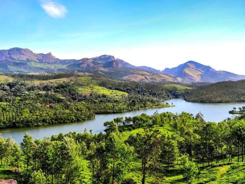 Bello paesaggio con la foresta ed il fiume selvaggi di Periyar, Kerala, India fotografia stock