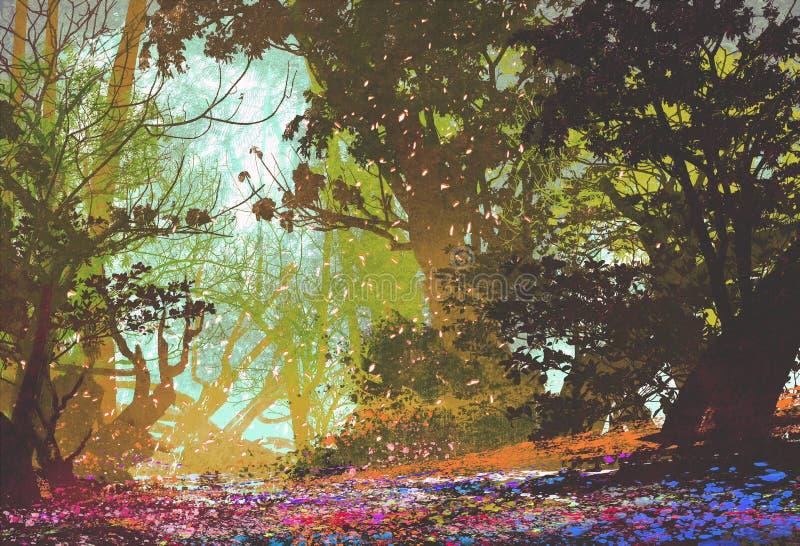 Bello paesaggio con la foresta variopinta royalty illustrazione gratis