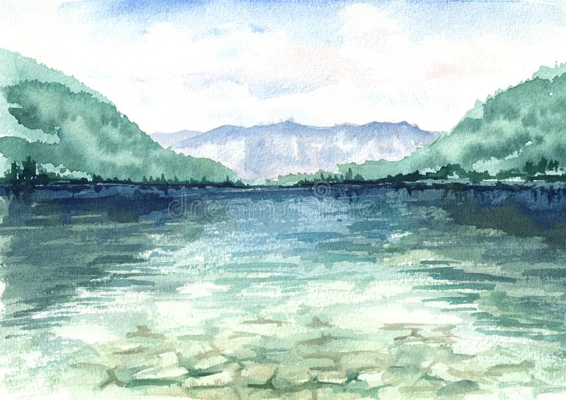 Bello paesaggio con un lago e le montagne riflessi nell'acqua Illustrazione disegnata a mano dell'acquerello illustrazione vettoriale