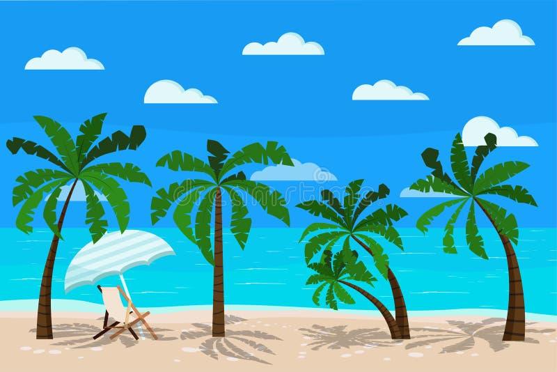 Bello paesaggio del mare con l'illustrazione di vettore di chaise longue illustrazione vettoriale