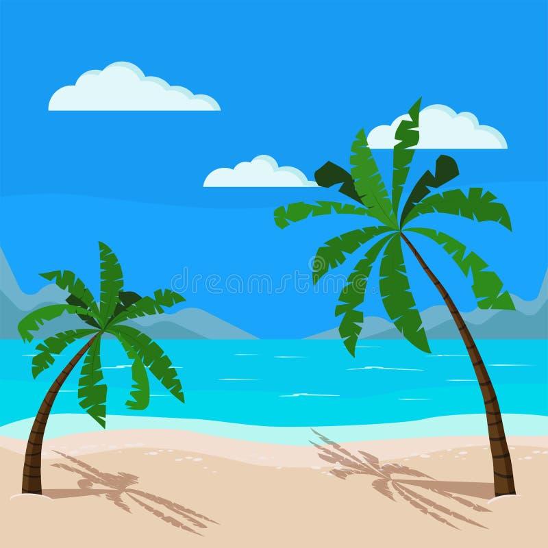Bello paesaggio del mare: oceano blu, linea costiera della sabbia, palme, montagne, nuvole illustrazione di stock