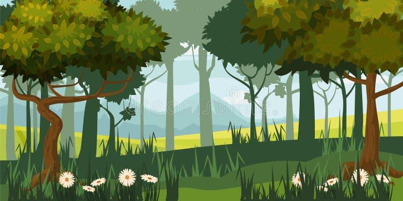 Bello paesaggio della foresta, alberi, siluetta, stile del fumetto, vettore, illustrazione, isolata fotografie stock