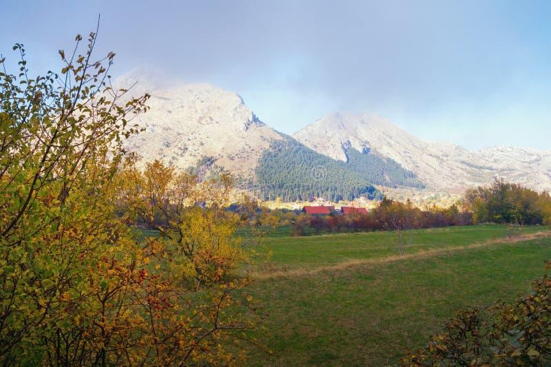 Bello paesaggio della montagna di autunno Il Montenegro, parco nazionale di Lovcen fotografie stock
