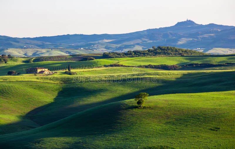 Bello paesaggio di estate con le colline ondulate e una casetta, Toscana immagini stock libere da diritti