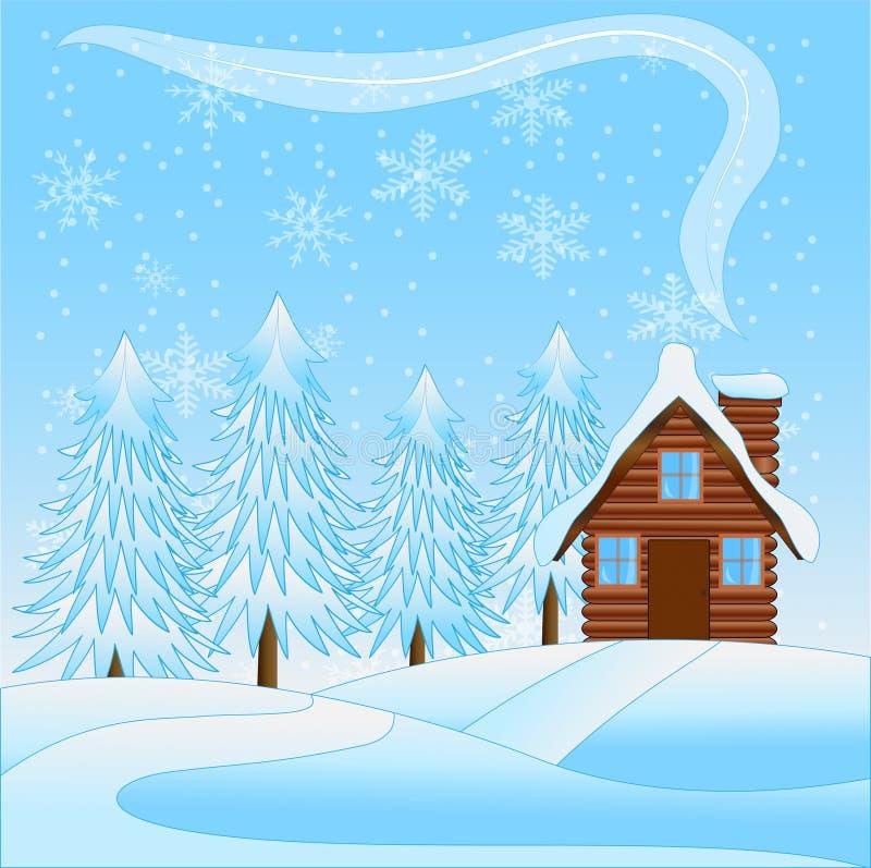 Bello paesaggio di inverno con una casa di legno e ad una t diretta a neve illustrazione vettoriale