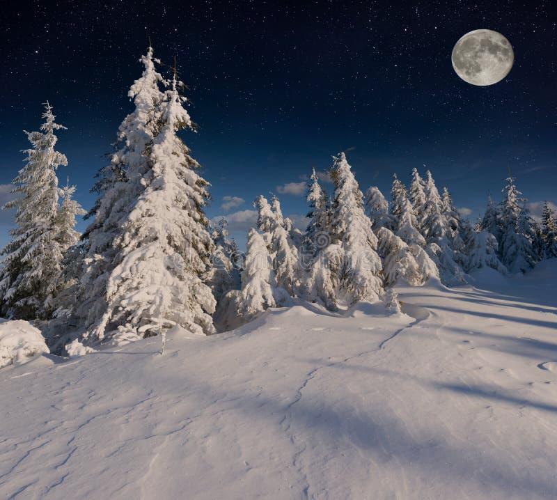 Bello paesaggio di inverno di notte nelle montagne con le stelle immagini stock