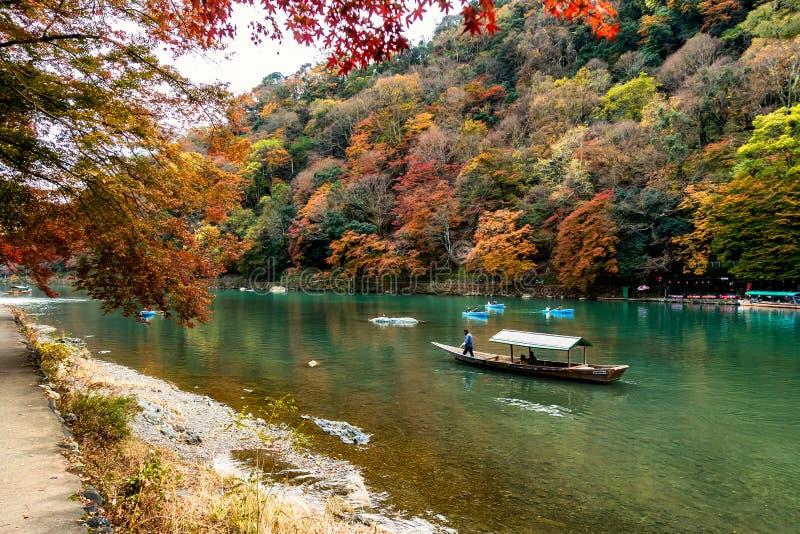 Bello paesaggio di Katsura River a Kyoto nel Giappone immagine stock libera da diritti