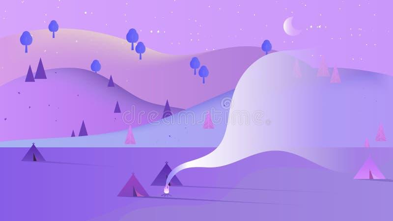 Bello paesaggio di paesaggio di notte, molte tende di campeggio nell'area con le alte montagne illustrazione di stock