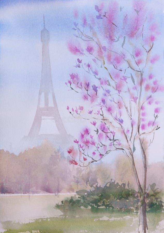 Bello paesaggio dipinto a mano di Parigi dell'acquerello royalty illustrazione gratis