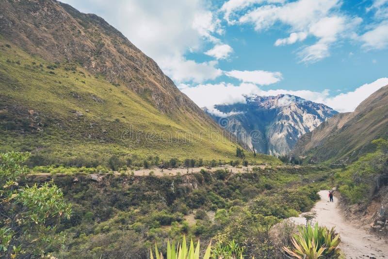 Bello paesaggio lungo Inca Trail fotografia stock