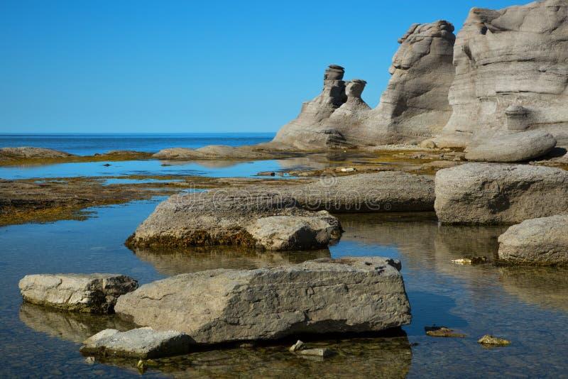 Bello paesaggio a Mingan in Quebec nel Canada fotografia stock libera da diritti