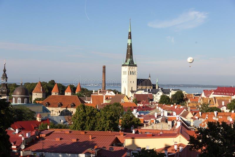 24-27 08 Bello panorama aereo dell'orizzonte di estate scenica 2016 di Città Vecchia a Tallinn, Estonia fotografia stock