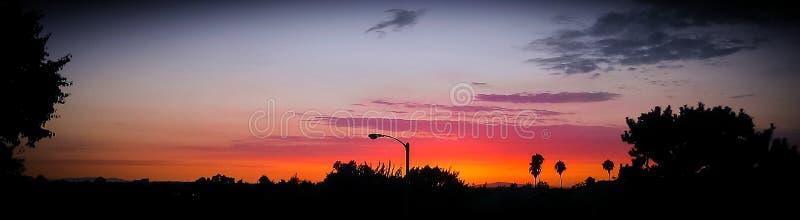 Bello panorama di tramonto in spiaggia di Newport fotografia stock