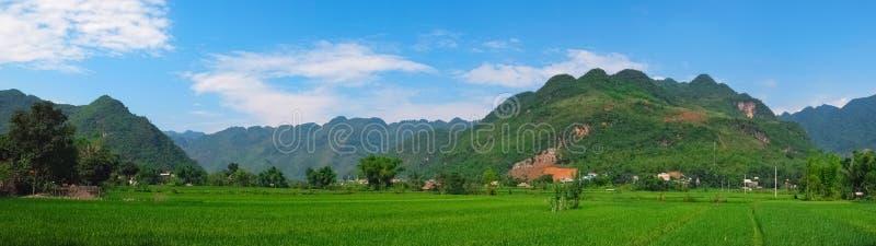 Bello panorama in Mai Chau Valley, Vietnam fotografia stock