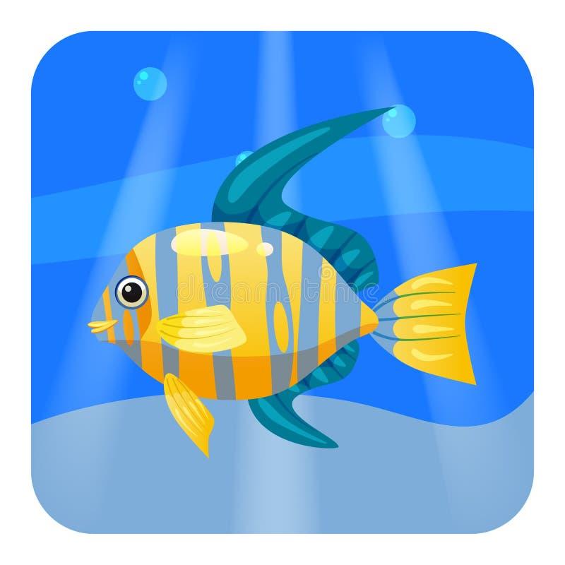 Bello pesce tropicale giallo sveglio, sul fondo del mare, oceano, vettore, isolato, stile del fumetto illustrazione vettoriale