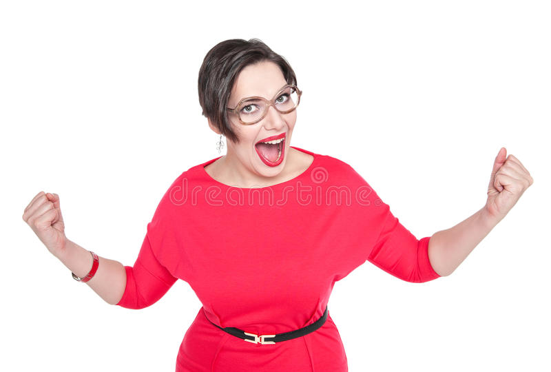 Bello più la donna di dimensione in vetri con il gesto di sì isolati fotografia stock