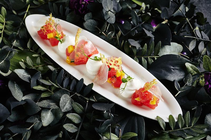 Bello piatto bianco servente del ristorante dell'acqua Jelly Top View di Tuna Fillet, del parmigiano e del pomodoro immagini stock libere da diritti