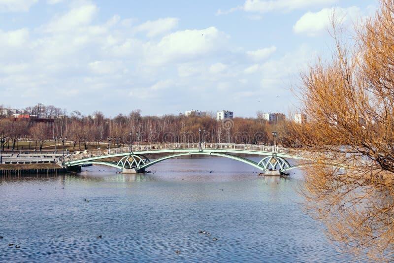 Bello ponte sul lago a tempo di autunno Parco di Caricino, Mosca, Russia immagine stock libera da diritti