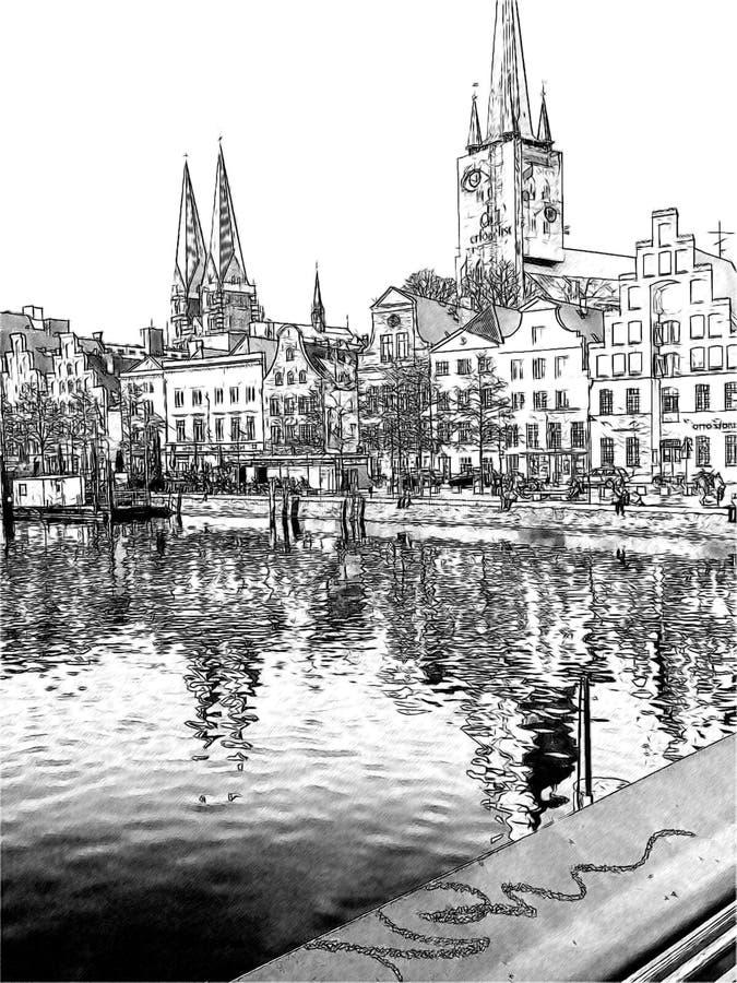 Bello porticciolo con accesso al quadrato principale royalty illustrazione gratis