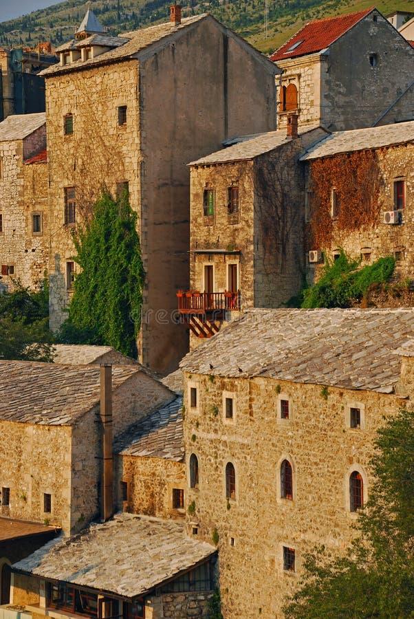 Bello primo piano Città Vecchia di Mostar in Bosnia fotografia stock libera da diritti
