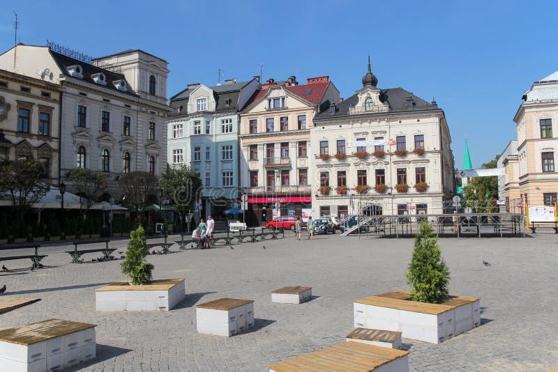 Bello quadrato del mercato in Cieszyn, Polonia fotografia stock libera da diritti