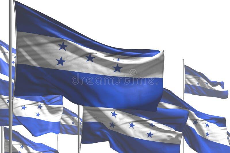 Bello qualsiasi illustrazione della bandiera 3d di celebrazione - molte bandiere dell'Honduras sono onda isolata su bianco illustrazione vettoriale
