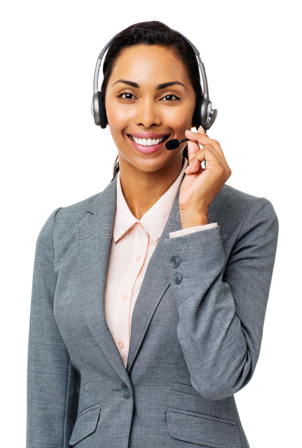 Bello rappresentante Wearing Headset della call center fotografia stock