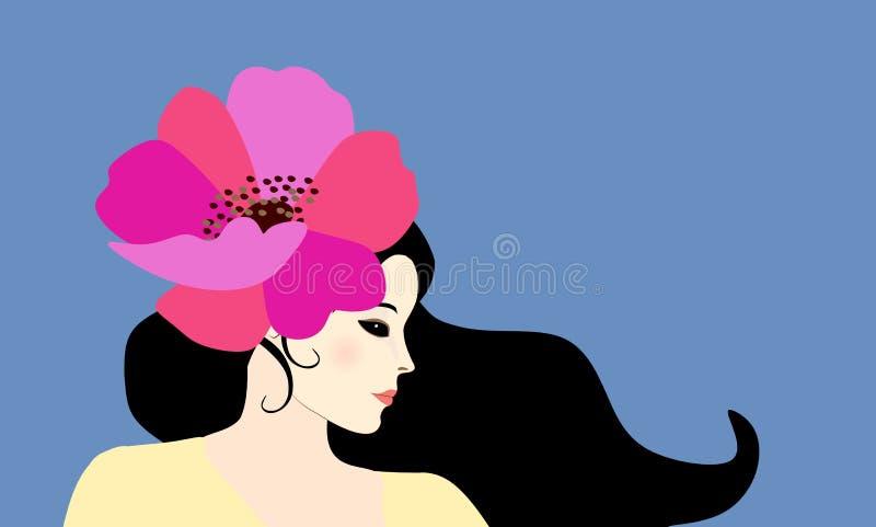 Bello ritratto castana di profilo della donna isolato su fondo blu Grande papavero rosa luminoso in suoi capelli Aletta di filato illustrazione di stock